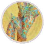 Aqua And Orange Giraffes Round Beach Towel