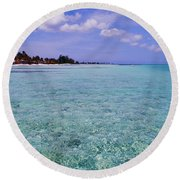 Aqua Blue Round Beach Towel