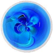 Aqua Blue Orb Round Beach Towel