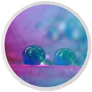 Aqua Blue Water Droplets Round Beach Towel