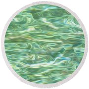 Aqua Green Water Art 2 Round Beach Towel