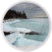 Aqua Ice At Split Rock Lighthouse Round Beach Towel