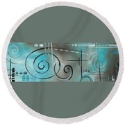 Aqua Mist By Madart Round Beach Towel