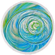 Aqua Seashell Round Beach Towel
