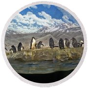 Aquarium Penguins Line Dance Round Beach Towel