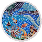 Aquatic Mosaic Tile Art Round Beach Towel