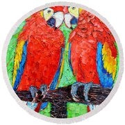 Ara Love A Moment Of Tenderness Between Two Scarlet Macaw Parrots Round Beach Towel