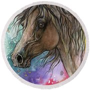 Arabian Horse And Burst Of Colors Round Beach Towel