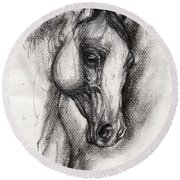 Arabian Horse Drawing 12 Round Beach Towel