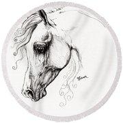 Arabian Horse Drawing 15 Round Beach Towel by Angel  Tarantella