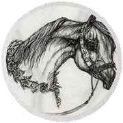 Arabian Horse Drawing 22 Round Beach Towel