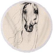 Arabian Horse Drawing 25 Round Beach Towel