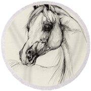 Arabian Horse Drawing 27 Round Beach Towel