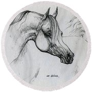 Arabian Horse Drawing 28 Round Beach Towel