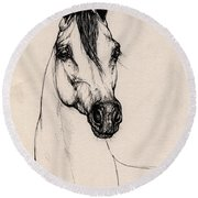 Arabian Horse Drawing 29 Round Beach Towel