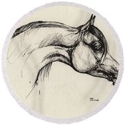 Arabian Horse Drawing 30 Round Beach Towel