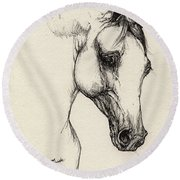 Arabian Horse Drawing 32 Round Beach Towel