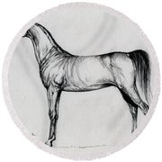 Arabian Horse Drawing 34 Round Beach Towel