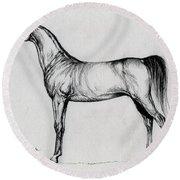 Arabian Horse Drawing 34 Round Beach Towel