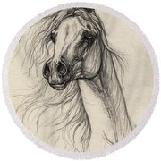 Arabian Horse Drawing 37 Round Beach Towel