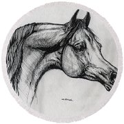 Arabian Horse Drawing 40 Round Beach Towel
