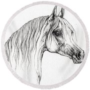 Arabian Horse Drawing 47 Round Beach Towel