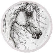 Arabian Horse Drawing 48 Round Beach Towel