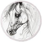 Arabian Horse Drawing 49 Round Beach Towel