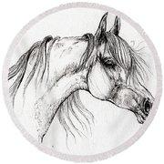 Arabian Horse Drawing 51 Round Beach Towel