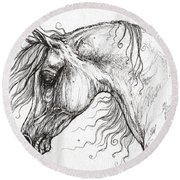 Arabian Horse Drawing 53 Round Beach Towel