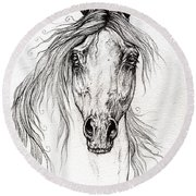 Arabian Horse Drawing 55 Round Beach Towel