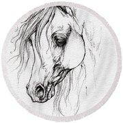 Arabian Horse Drawing Round Beach Towel