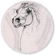 Arabian Horse Portrait 2014 02 25 Round Beach Towel