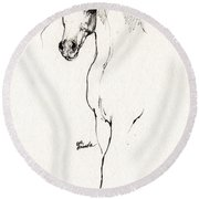 Arabian Horse Sketch 2014 05 24 A Round Beach Towel