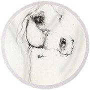 Arabian Horse Sketch 2014 05 24 Round Beach Towel