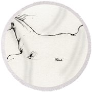 Arabian Horse Sketch 2014 05 24 C Round Beach Towel