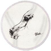 Arabian Horse Sketch 2014 05 24 G Round Beach Towel