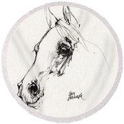 Arabian Horse Sketch 2014 05 28c Round Beach Towel