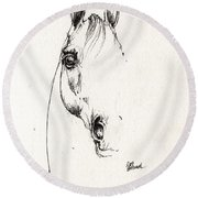 Arabian Horse Sketch 2014 05 29b Round Beach Towel