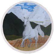 Araboam Stallion 3 Round Beach Towel