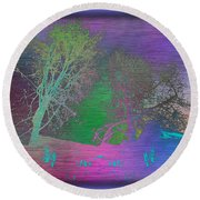 Arbor In The City Round Beach Towel