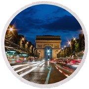 Arc De Triomphe At Dusk Paris Round Beach Towel