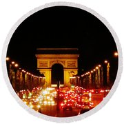 Arc De Triomphe At Night Round Beach Towel
