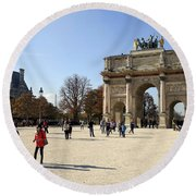 Arc De Triomphe Du Carrousel In Paris France  Round Beach Towel