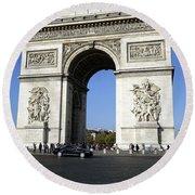 Arc De Triomphe In Paris France Round Beach Towel