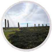 Arc Of Stones At The Ring Of Brodgar Round Beach Towel