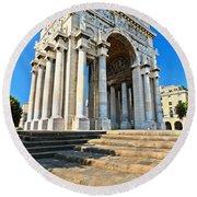 arc of triumph in Piazza Della Vittoria - Genova Round Beach Towel