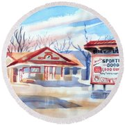 Arcadia Sporting Goods In Winter Blue Round Beach Towel by Kip DeVore
