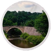 Arch Bridge Across Casselman River Round Beach Towel