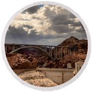 Arch Bridge And Hoover Dam Round Beach Towel by Robert Bales